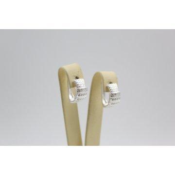 Дамски сребърни обеци с бели камъни 3913