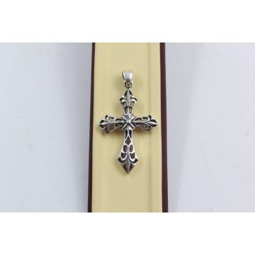 Дамски сребърен медальон кръст тъмно сребро 3915