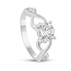 Дамски сребърен годежен пръстен бял камък 3923