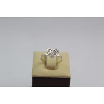Дамски сребърен пръстен сърце с бели камъни 3924