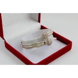 Дамска сребърна твърда гривна розови камъни 3926