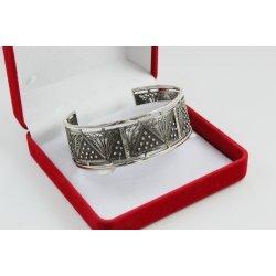 Дамска сребърна твърда гривна черно сребро филигран 3926