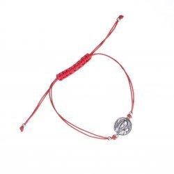 Дамска сребърна гривна с червен конец и Богородица 3931