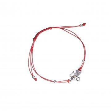 Дамска сребърна гривна с червен конец и ангел 3933