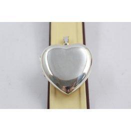 Дамски сребърен отварящ се медальон за снимка сърце 3937