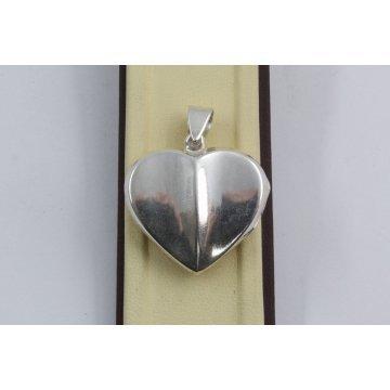 Дамски сребърен отварящ се медальон за снимка изчистено сърце 3936