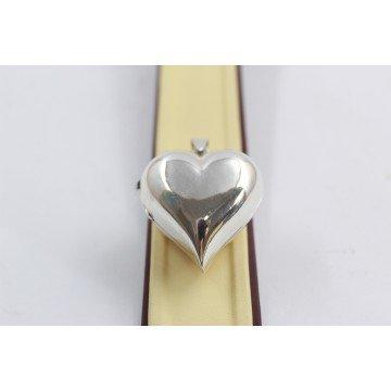 Дамски сребърен отварящ се медальон за снимка сърце изчистено 3938