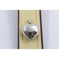 Дамски сребърен отварящ се медальон за снимка сърце 3938