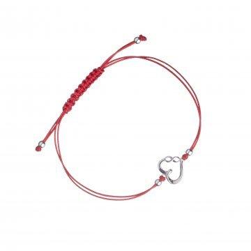 Дамска сребърна гривна с червен конец сърце и безкрайност 3941