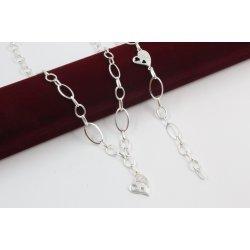 Дамски сребърен комплект Звездна Любов колие гривна бели камъни 3945