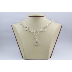 Дамско сребърно колие Мирела Любов бели камъни 3959
