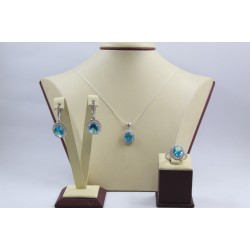 Дамски сребърен комплект Императрицата на Изтока сини и бели циркони 3967