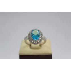 Дамски сребърен пръстен Императрицата на Изтока сини и бели циркони 3967
