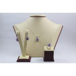 Дамски сребърен комплект Императрицата на Запада лила и бели циркони 3968