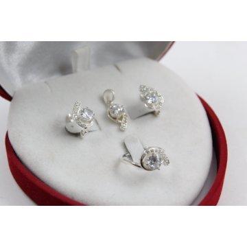 Дамски сребърен комплект с бели циркони 3968