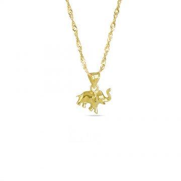 Златно дамско колие със слон жълто злато 3973