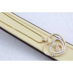 Златно колие със сърце бяло жълто розово злато 3983