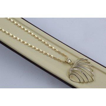 Златно колие със сърце бяло жълто злато 3986