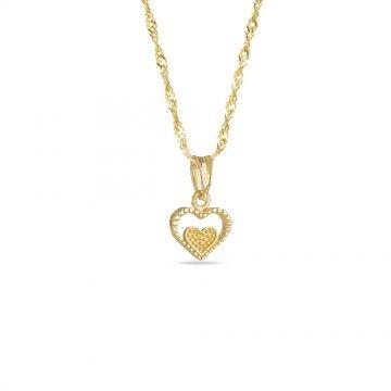 Златно колие със сърце жълто злато 3992