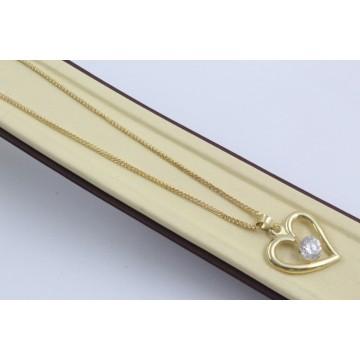 Златно колие със сърце жълто злато бял камък 3993