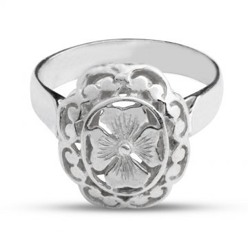 Класически модел дамски ретро сребърен пръстен детелина 4002
