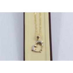 Златно дамско сърце с делфини жълто злато бели камъни 4008