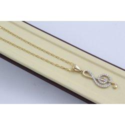 Златно дамско колие ключ сол бяло жълто злато бели камъни 4011