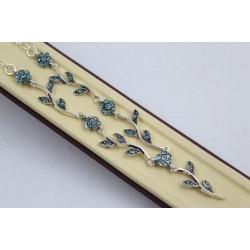 Дамско сребърни колие Ангелски Цветя светло сини 4038