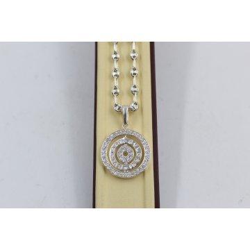 Дамско сребърно колие с въртящ медальон с бели камъни 4046