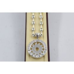 Дамско сребърно колие с въртящ медальон с бели камъни 4049