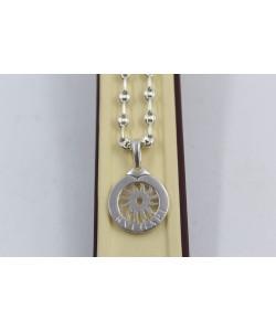 Дамско сребърно колие с въртящ медальон 4051