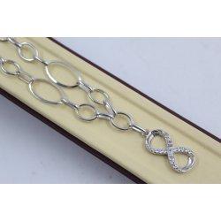 Дамско сребърно колие Безкрайност с бели камъни 4054