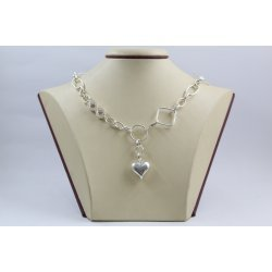 Женско сребърно колие Мирела Безкрайност бели камъни 4056
