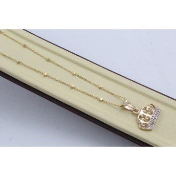Дамско златно колие Корона жълто злато бели камъни 4058