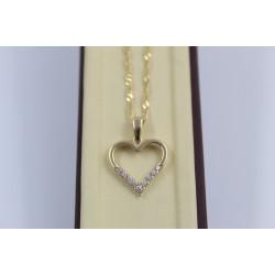 Дамско златно колие Сърце жълто злато бели камъни 4059