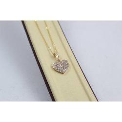 Дамско златно колие Сърце жълто злато бели камъни 4060
