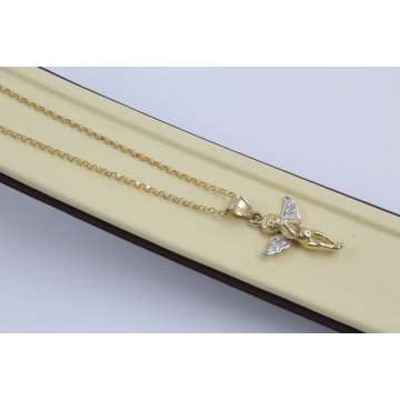 Дамско златно колие с Ангел жълто и бяло злато бели камъни 4062