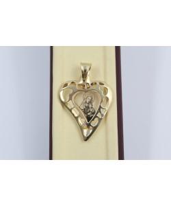 Златен дамски медальон богородица сърце жълто злато 4063