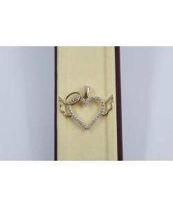 Златен дамски медальон сърце с крила жълто злато бели камъни 4065