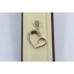 Златен дамски медальон сърце жълто злато бели камъни 4065