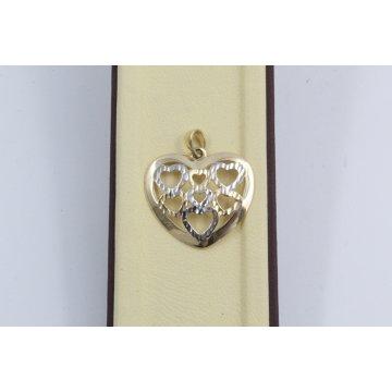 Златен дамски медальон сърце жълто бяло злато 4065