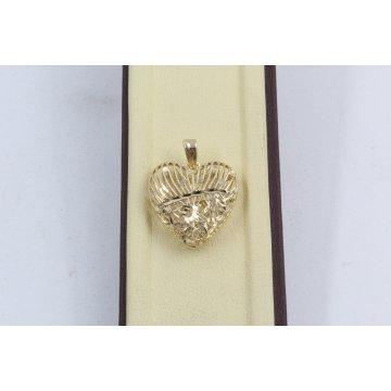 Златен дамски медальон сърце жълто злато 4065