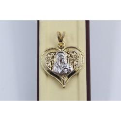 Златен дамски медальон сърце бяло жълто злато 4071