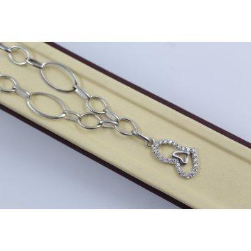 Дамско сребърно колие Сърца с бели камъни 4076