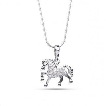 Дамско сребърно колие с медальон кон с бели камъни 4077