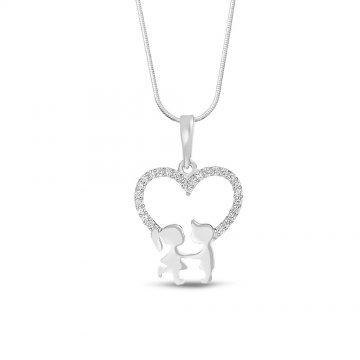 Дамско сребърно колие сърце с момченце и момиченце бели камъни 4082