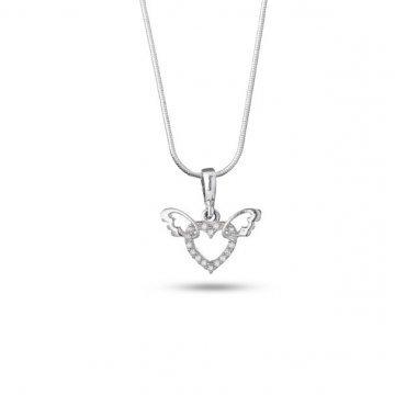 Дамско сребърно колие Сърце с крила бели камъни 4089
