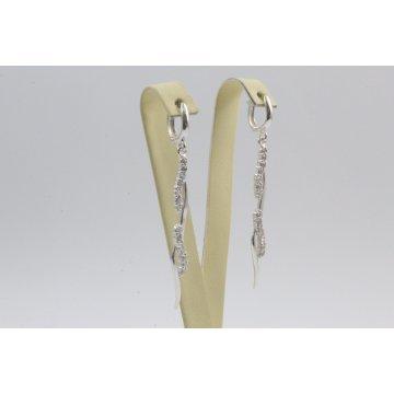 Дамски сребърни висящи обеци Стилето бели камъни 4091