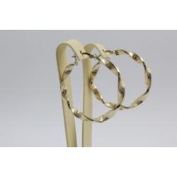 Дамски златни обеци усукани халки жълто злато гравирани 4101