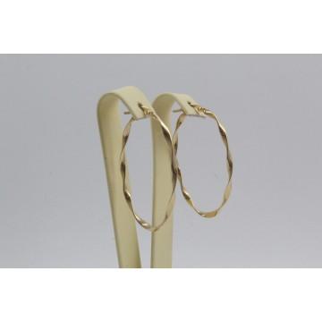 Дамски златни обеци усукани халки елипса жълто злато 4102